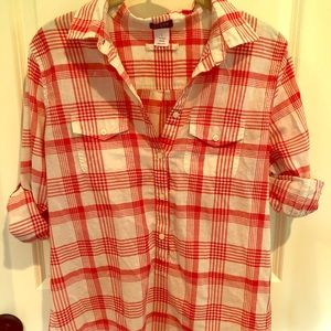 J. crew red and white tunic s